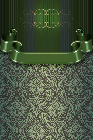 coverbook: Vintage background with decorative ribbon and elegant patterns.