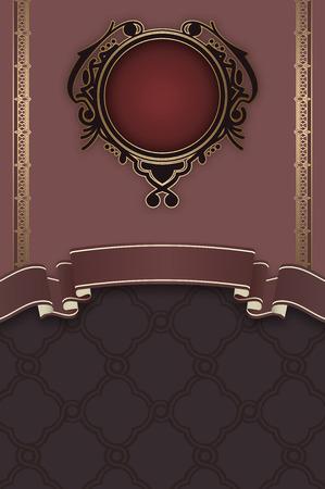 coverbook: Sfondo decorativo con telaio e modelli eleganti. Scheda dell'invito dell'annata. Archivio Fotografico