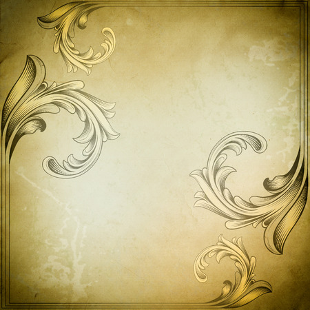 Old grunge paper background with old-fashioned border and copy space for the text.