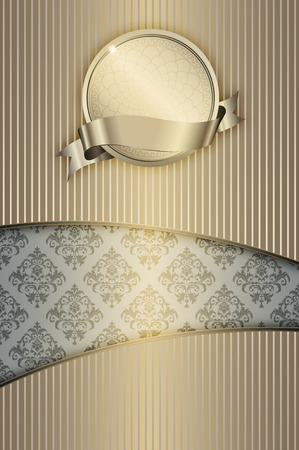 Vintage striped background with decorative frame and elegant patterns.