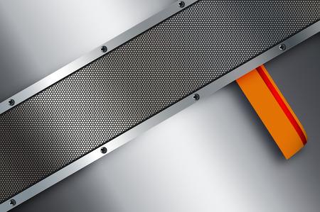 metal sheet: Abstract metal background with metal mesh,screws and orange sheet.