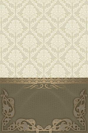 coverbook: Vintage sfondo con cornice decorativa ed eleganti motivi floreali. Archivio Fotografico