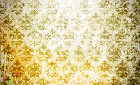 old wallpaper: Old grunge paper background with old-fashioned floral ornament. Old wallpaper.