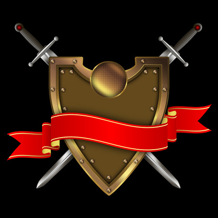 riveted: Gold riveted shield,red ribbon and two swords on black background. Stock Photo