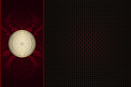 decorative background: Decorative background with frame and old-fashioned patterns. Stock Photo