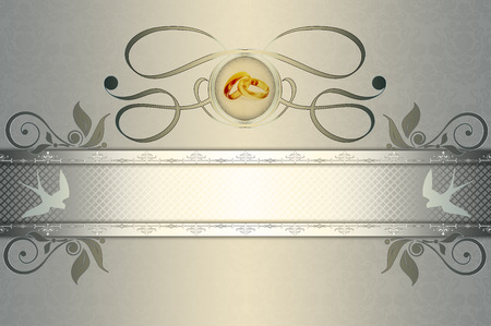 gold rings: Decorative wedding background with patterns,frame and gold rings.