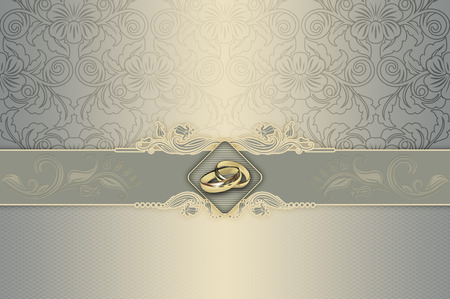 Decorative background with floral patterns and gold wedding rings for the design of wedding invitation card. Foto de archivo