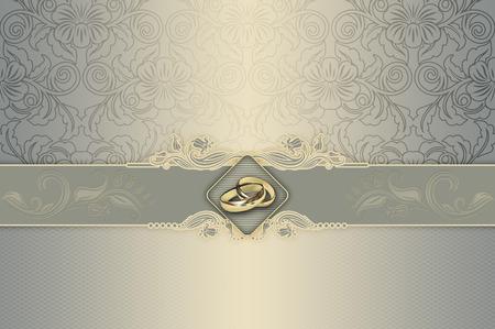 dorado: Fondo decorativo con motivos florales y anillos de oro para el diseño de tarjeta de invitación de la boda.