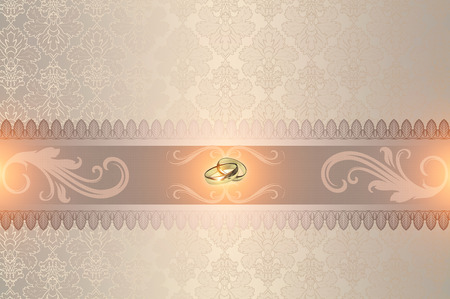 gold rings: Decorative wedding background with gold rings and elegant patterns. Stock Photo