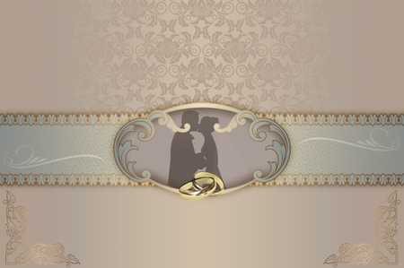 gold rings: Wedding background with gold rings, decorative frame,silhouette couple and elegant patterns.