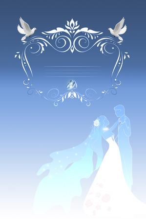 WEDDING DAY: Wedding background with decorative frame,silhouette couple and wedding rings.