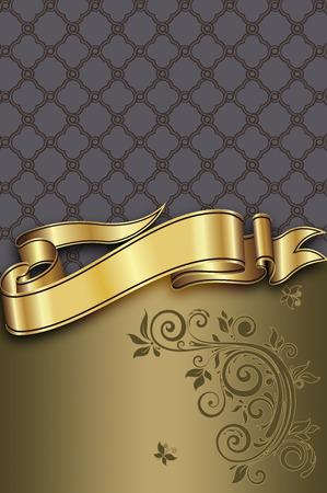 coverbook: Vintage sfondo con nastro d'oro e motivi decorativi floreali.