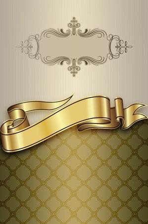 coverbook: Vintage background con nastro d'oro, cornice decorativa e ornamento vecchio stile. Archivio Fotografico