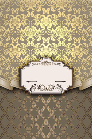 old  fashioned: Vintage background with decorative frame, old fashioned ornament and ribbon.