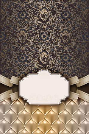 old  fashioned: Vintage background with old fashioned floral ornament and ribbon.