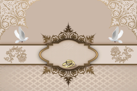 gold rings: Elegant holiday background with decorative frame,gold rings,white doves and old-fashioned ornaments.