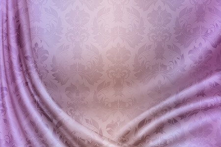 Abstract pink curtain with floral patterns.