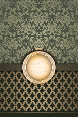 coverbook: Decorative background with floral pattern and frame. Vintage invitation card template.