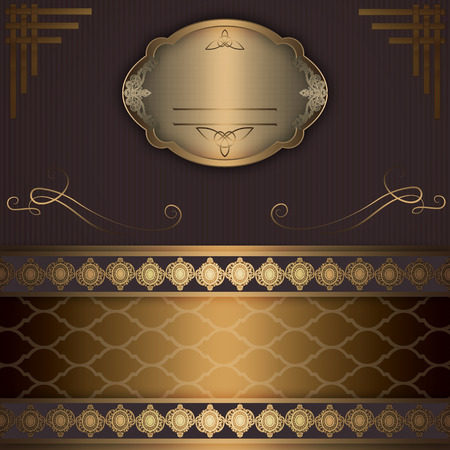 decorative frame: Vintage background with decorative old-fashioned ornament,gold decorative frame and other decorative elements.