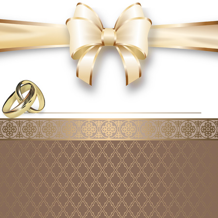 ribbon: Decorative background with elegant bow and decorative ornament for the design of wedding invitation card.