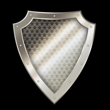shield: Abstract silver shield with chrome riveted border and stars on black background. Stock Photo