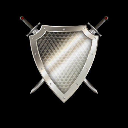 riveted: Silver riveted shield withs stars and two swords on black background.