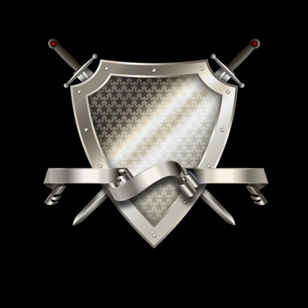 riveted: Silver riveted shield withs stars, silver ribbon and two swords on black background.