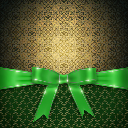 green ribbon: Vintage background with decorative ornament and elegant green ribbon with bow. Stock Photo