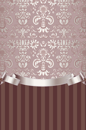 swirl patterns: Vintage background with decorative old-fashioned patterns and elegant ribbon.