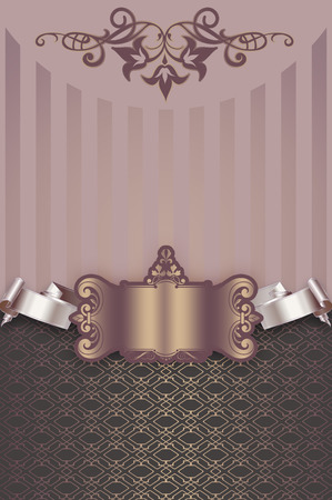 decorative frame: Vintage background with old-fashioned ornament decorative frame and ribbon.