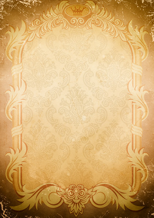 Grunge old paper background with vintage frame and old-fashioned patterns. Standard-Bild