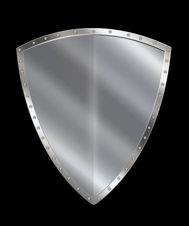 rivet: Silver heraldic shield with rivet border on black background. Stock Photo