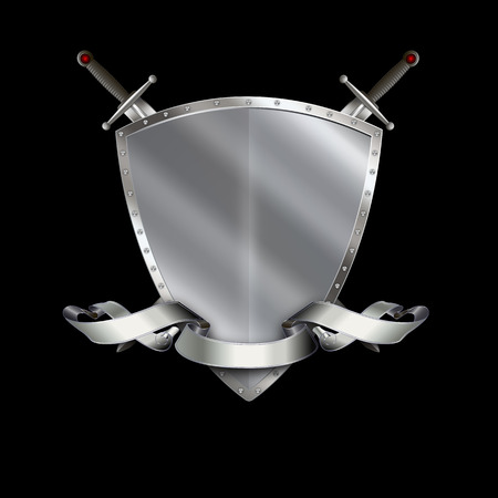 silver ribbon: Silver heraldic shield with two swords and silver ribbon on black background. Stock Photo