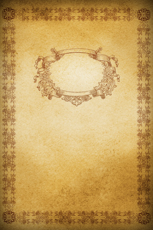 Vintage background with old-fashioned ornamental border and frame.