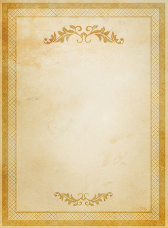 Old paper background with decorative border and patterns.