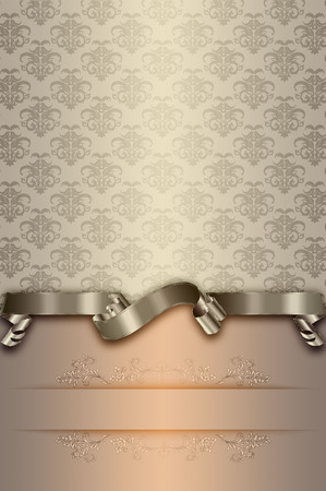Vintage background with decorative old-fashioned patterns,elegant ribbon and copy space for the text. Reklamní fotografie