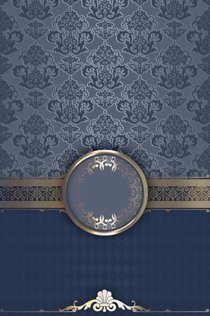 coverbook: Blue vintage background with decorative frame and old-fashioned ornaments.