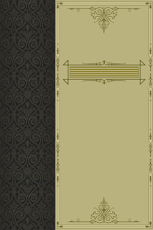 coverbook: Vintage background with decorative border and ornament for the design.