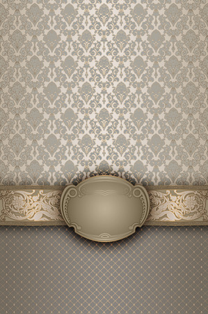 gold swirl: Decorative background with old-fashioned patterns and elegant frame.