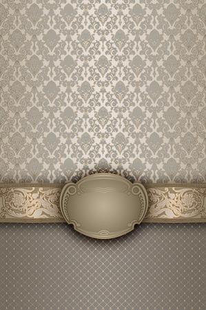 Fundo decorativo com testes padrões antiquados e elegante quadro.