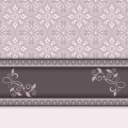 card design: Decorative vintage background with old-fashioned ornament and decorative border. Stock Photo