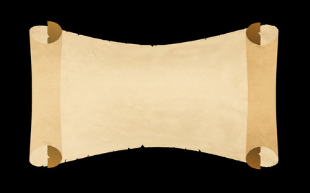 manuscript: Torn scroll of antique parchment on black background.