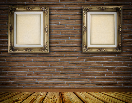 retro frame: Two retro frame with canvas on brick wall. Stock Photo