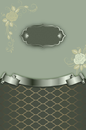 Decorative vintage background with frame,roses and decorative frame for the text.