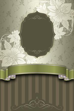 coverbook: Sfondo decorativo floreale con telaio e nastro elegante. Archivio Fotografico
