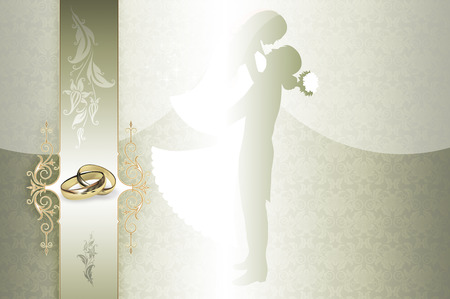 gold rings: Decorative wedding background with gold rings,silhouette of newlyweds and floral patterns.