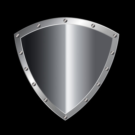 riveted: Silver riveted shield on black background.