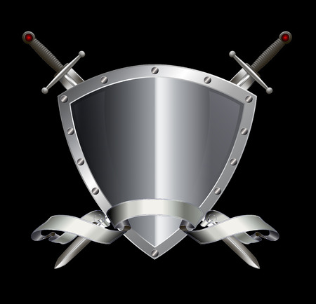 riveted: Silver riveted shield with silver ribbon and two swords on black background.