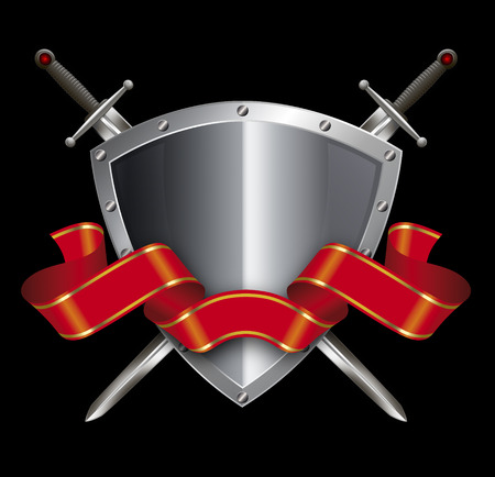 riveted: Silver riveted shield with elegant red ribbon and two swords on black background.