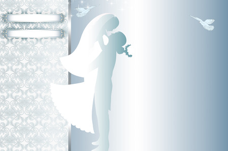newlyweds: Decorative wedding background with gold rings,silhouette of newlyweds and floral patterns.